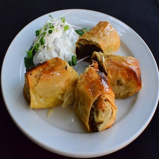 Mushrooms and pine nuts in filo