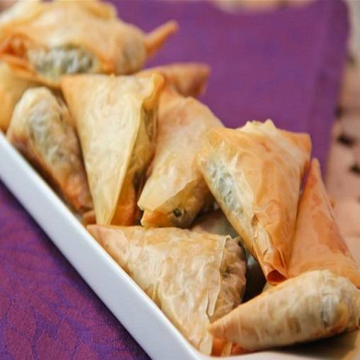 Spinach and cheese in filo