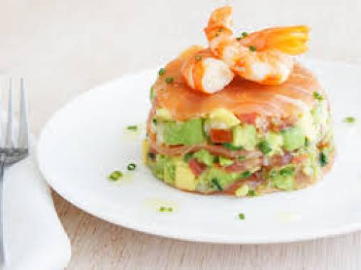 Prawn and Avocado Stack with Vanilla Bean Tomato Gazpacho and Caviar